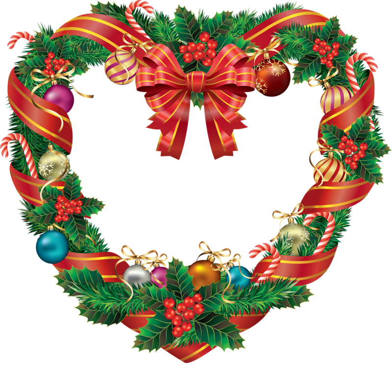 Рождественский венок на прозрачном фоне. Рождественские венки