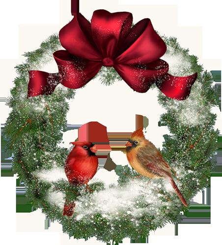Рождественский венок с птицами