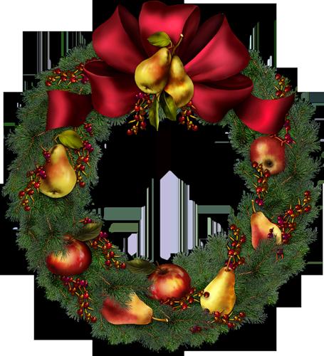 Рождественские веночки с фруктами. Рождественские венки