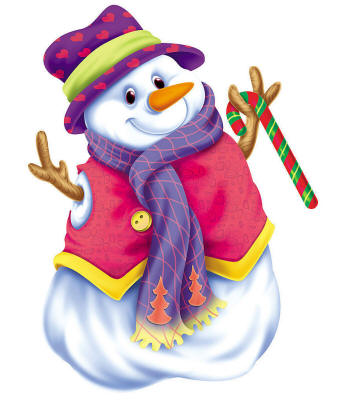 Веселый снеговик принарядился к Рождеству. Картинки на Рождество