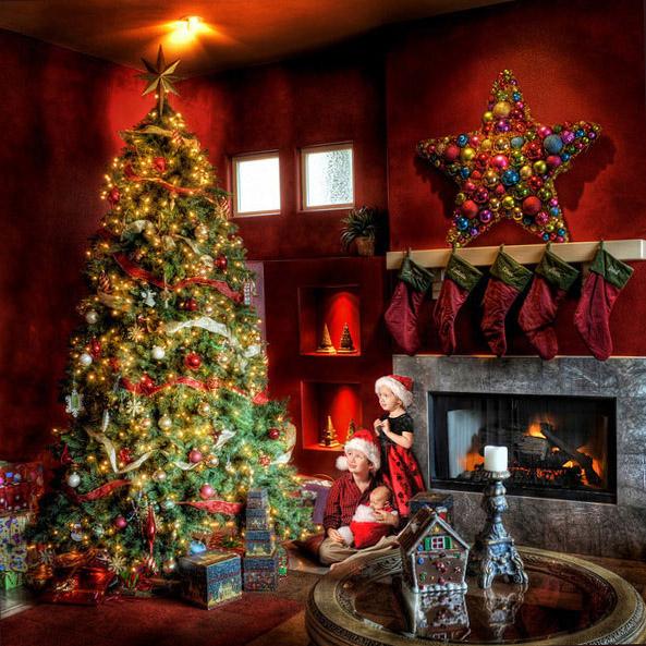 Дух Рождества царит в  уютном теплом доме. Картинки на Рождество