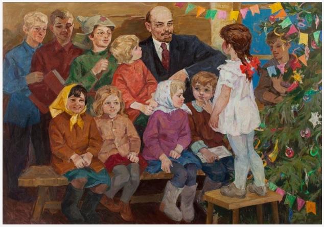 Ленин и дети у Новогодней елки. Советские новогодние открытки