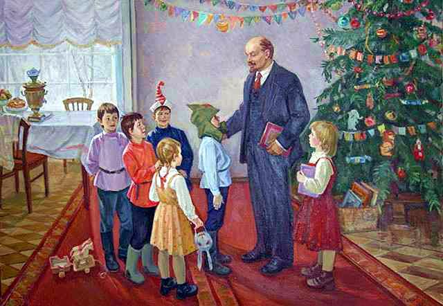 Ленин, дети и Новогодняя елка. Советские новогодние открытки