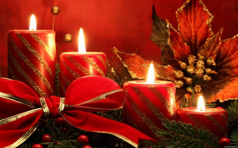 Обои Рождественские свечи. Новогодние обои на рабочий стол