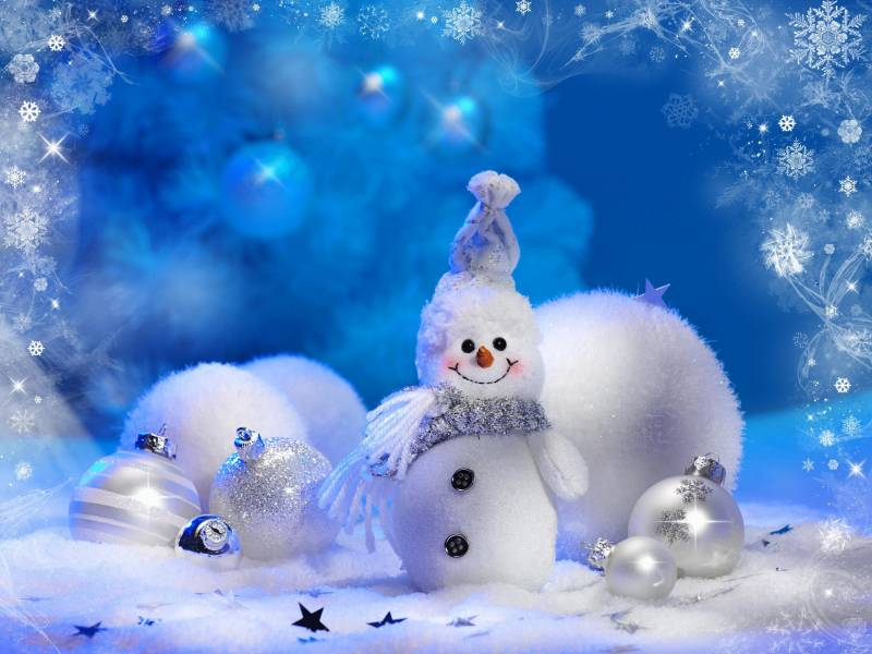 Новогодние обои Снеговик