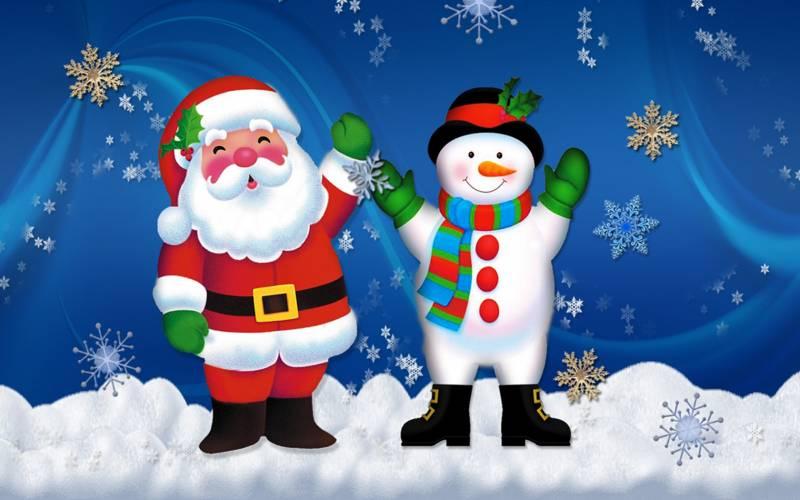 Новогодние обои Снеговик и Санта Клаус