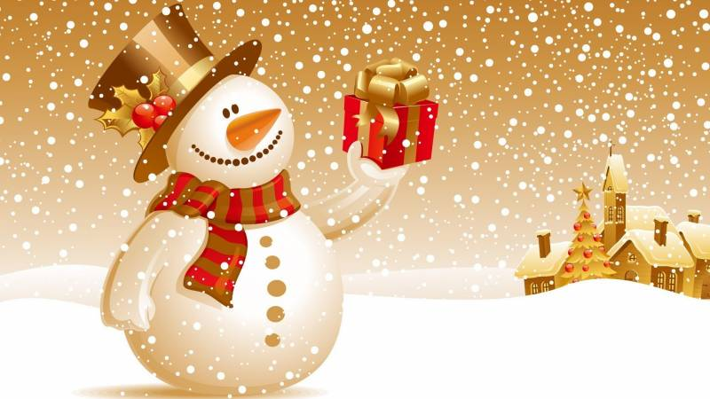 Снеговик с подарком. Новогодние обои на рабочий стол