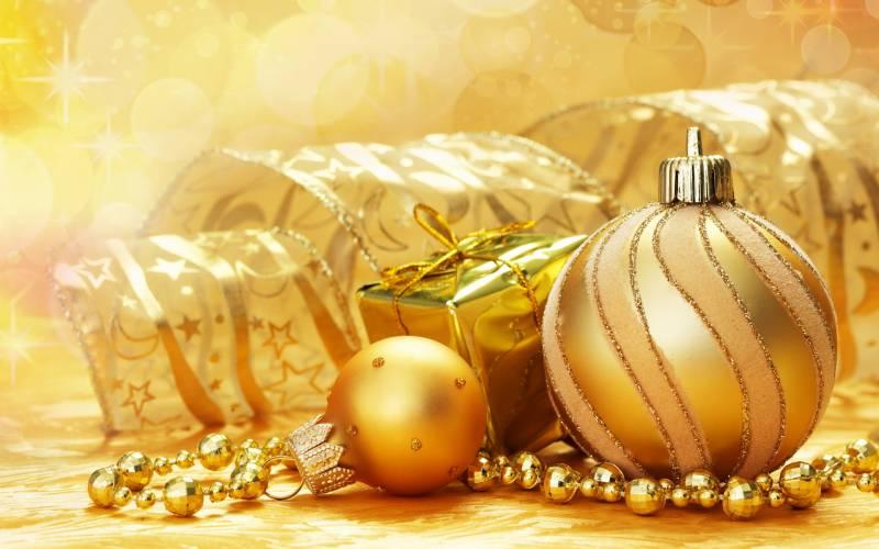 Золотой Новый год. Новогодние обои на рабочий стол