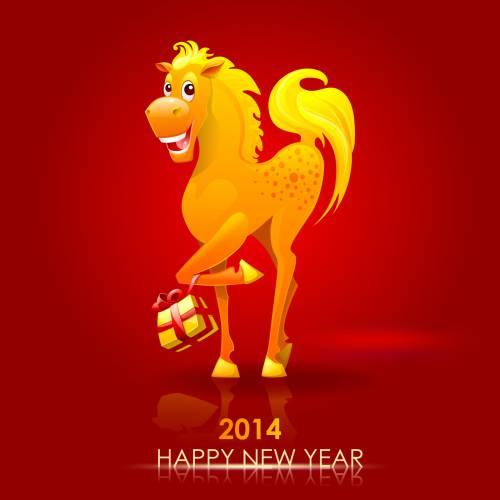 Веселая открытка с годом Лошади 2014. С Новым Годом лошади