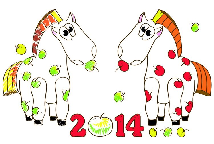 Смешные открытки на год Лошади. С Новым Годом лошади