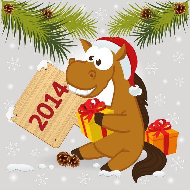 Картинка с прикольной лошадкой. С Новым Годом лошади