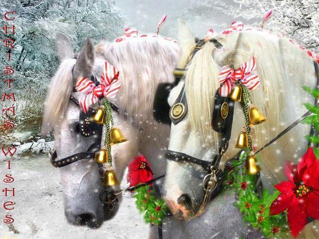 Новогодние лошади с бубенцами. С Новым Годом лошади