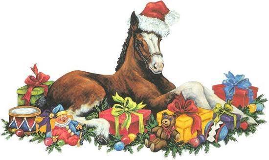 Лошадь с подарками. С Новым Годом лошади