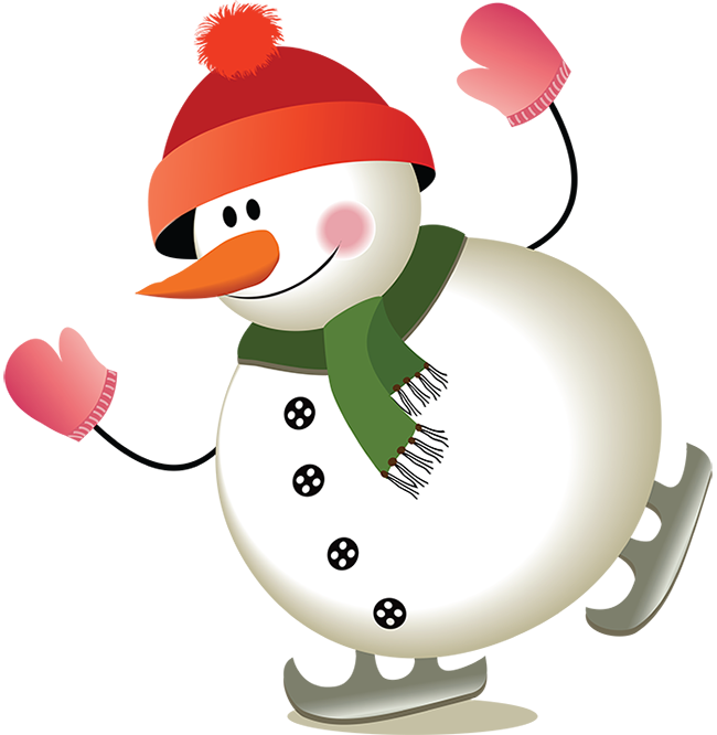 Снеговик на коньках. Клипарт новогодний