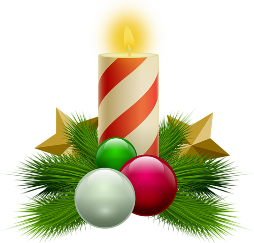 Новогодние свечи с праздничным декором. Клипарт новогодний