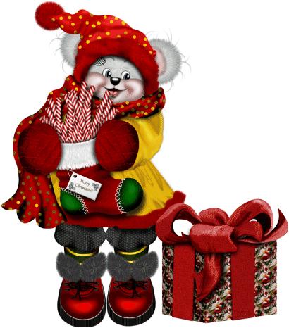Новогодний мишка. Клипарт новогодний