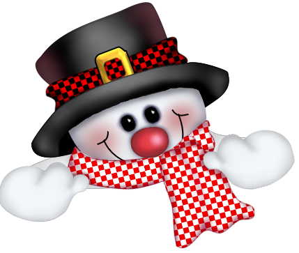 Снеговик в шляпе. Клипарт новогодний