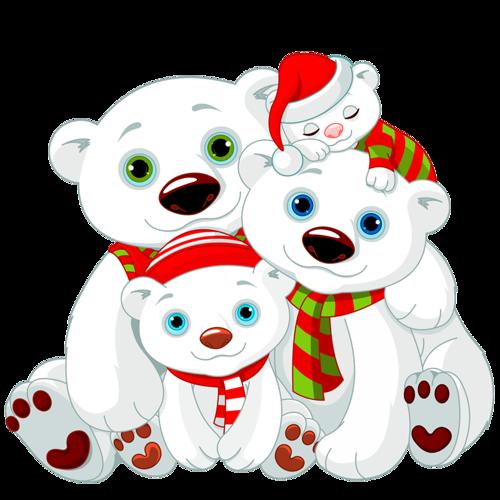 Белые медведи клипарт новогодний