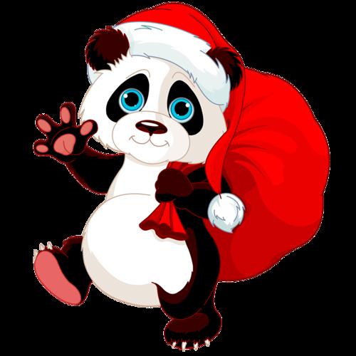 Панда с мешком подарков. Клипарт новогодний