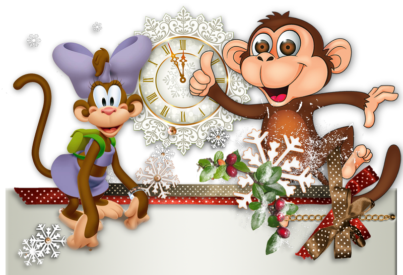 Новогодние обезьянки 2016. Клипарт новогодний