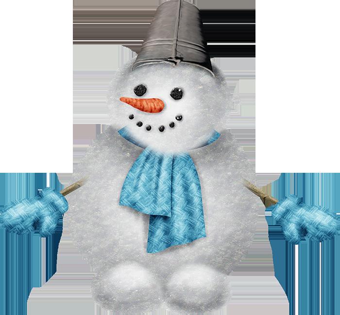 Снеговик пушистик. Клипарт новогодний