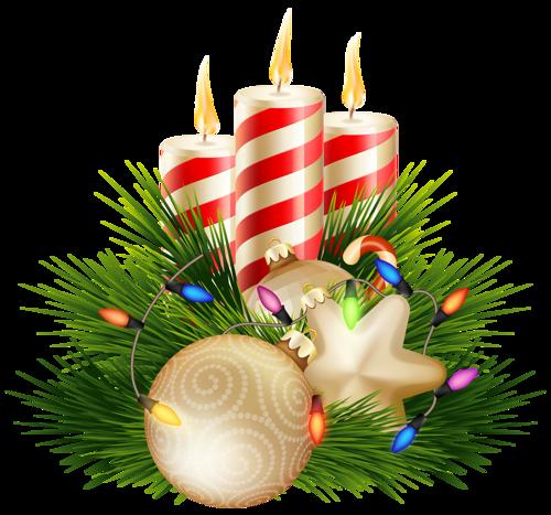 Новогодне-рождественские свечи. Клипарт новогодний