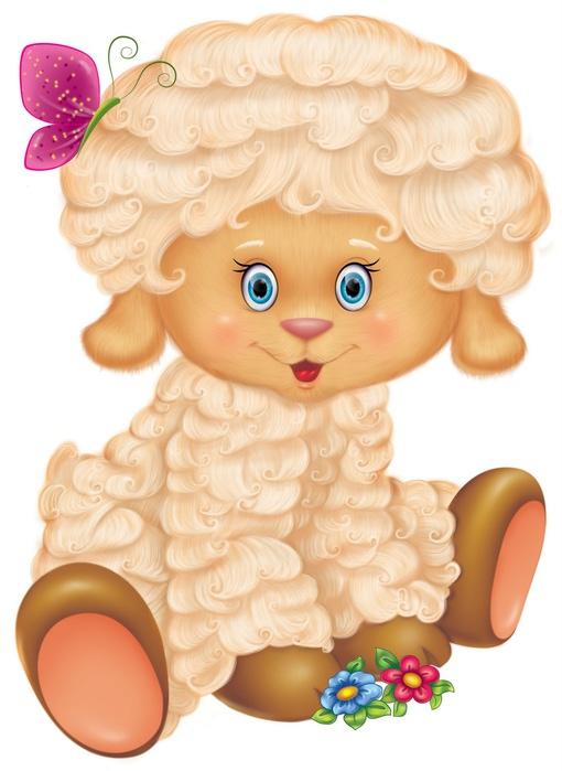 Мультяшная овечка. Клипарт новогодний