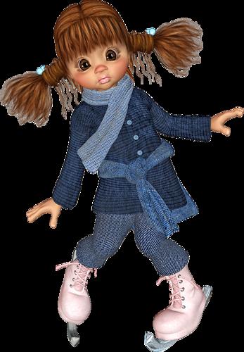 Кукла на коньках. Клипарт новогодний