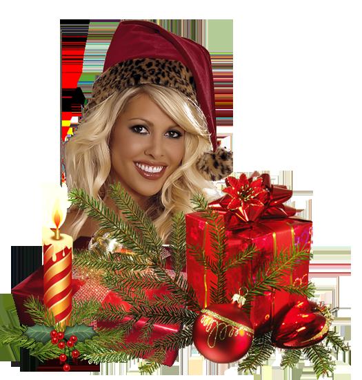 Девушка с подарками. Клипарт новогодний