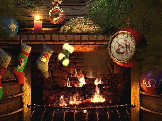 Рождественский камин. Клипарт новогодний
