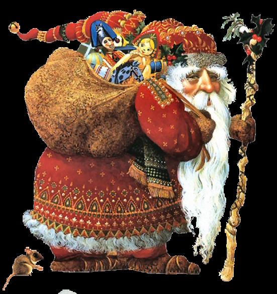 Старинный Дед Мороз. Клипарт новогодний