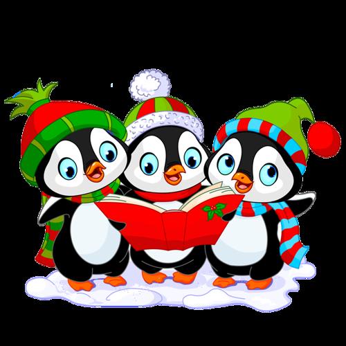 Пингвинята. Клипарт новогодний