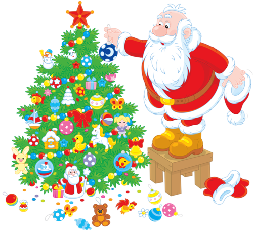 Рисунок с Санта-Клаусом и елкой. Клипарт новогодний