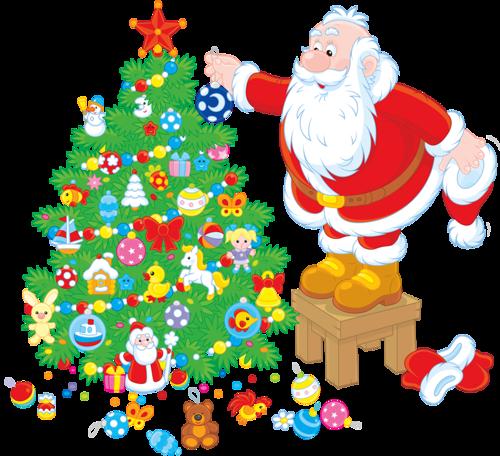 Рисунок с Санта-Клаусом и елкой
