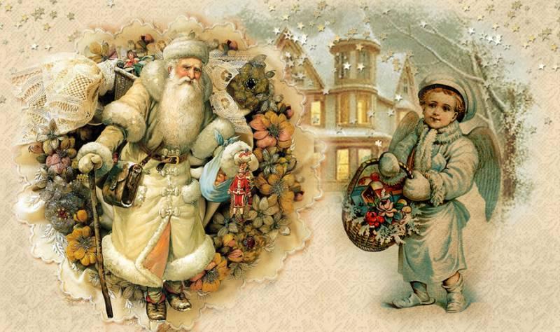 Винтажная картинка для декупажа новогодняя. Клипарт новогодний