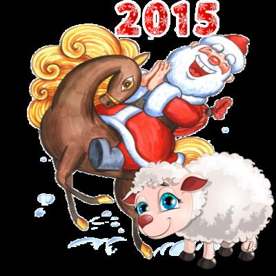 Дед Мороз на лошади с козой. Клипарт новогодний