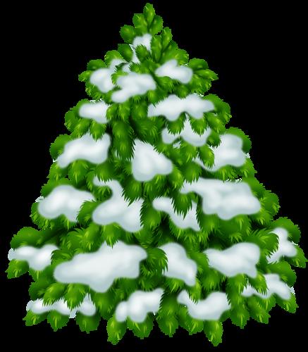 Нарисованная ёлка в снегу. Клипарт новогодний