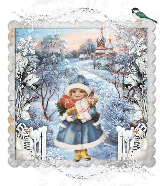 Зимняя детская открытка. Картинки зима