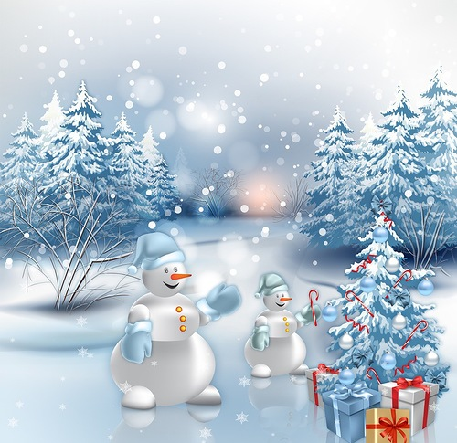 Снеговики наряжают елку. Картинки зима