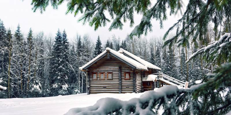 Домик в снежном лесу. Картинки зима