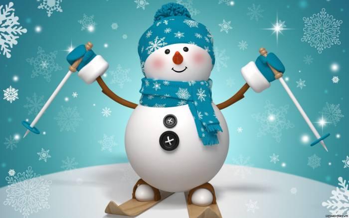 Привет от снеговика. Картинки зима