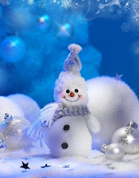 Симпатичный снеговик. Картинки зима
