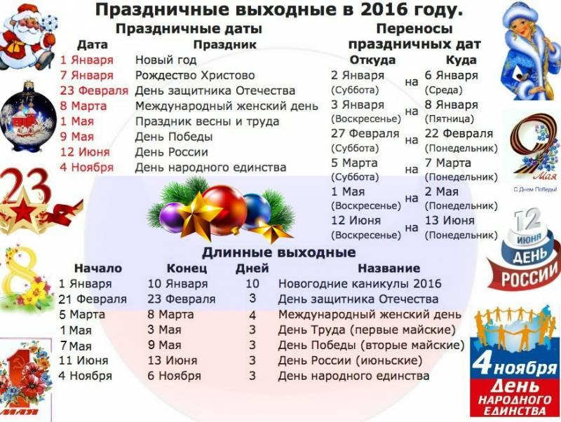 Календарь праздников и выходных на 2016 год