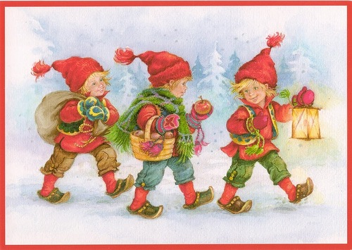 Новогодние гномики. Детские открытки