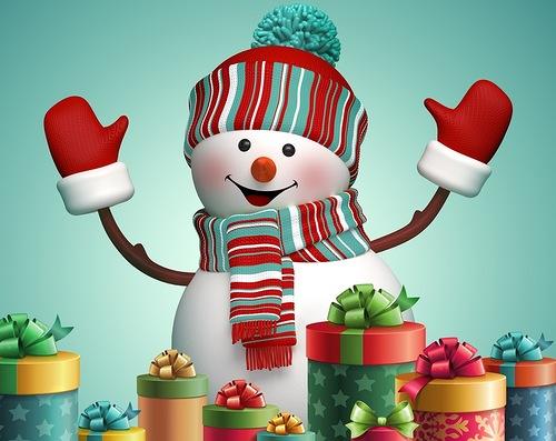 Снеговик с подарками. Детские открытки