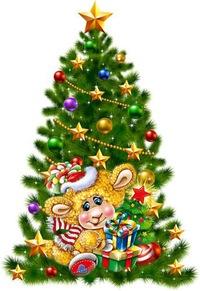 Овечка у новогодней ёлки. Детские открытки