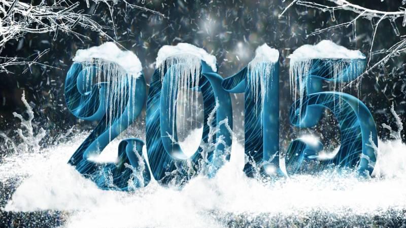Надпись 2015 с сосульками. Новогодние надписи