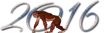 Надпись 2016 с обезьянкой