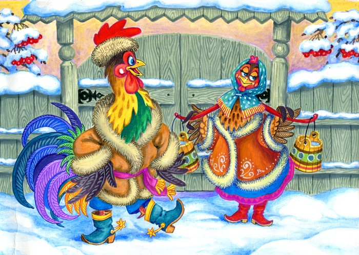 Петух и курица картинки. Картинки с символом 2017 года