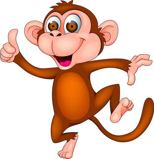 Мультяшная обезьяна. Картинки с символом 2018 года